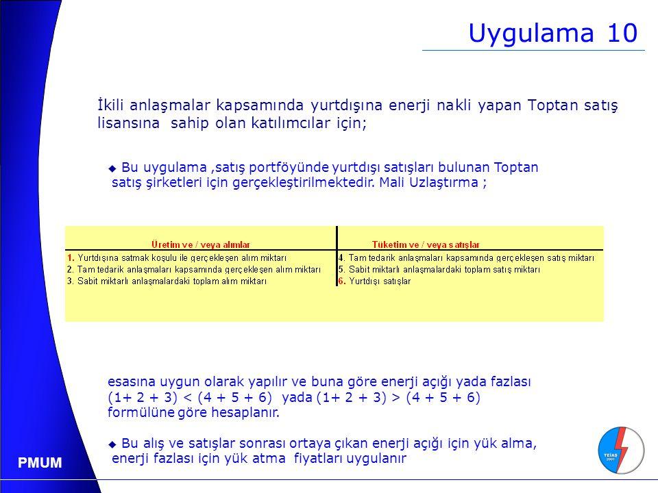 Uygulama 10 İkili anlaşmalar kapsamında yurtdışına enerji nakli yapan Toptan satış lisansına sahip olan katılımcılar için;