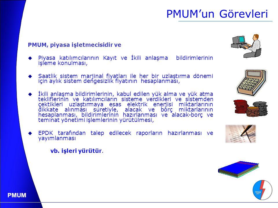 PMUM'un Görevleri PMUM, piyasa işletmecisidir ve