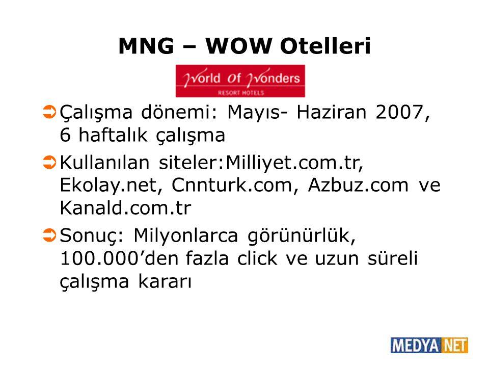 MNG – WOW Otelleri Çalışma dönemi: Mayıs- Haziran 2007, 6 haftalık çalışma.