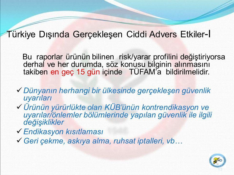 Türkiye Dışında Gerçekleşen Ciddi Advers Etkiler-I
