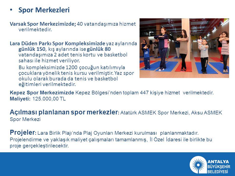 Spor Merkezleri Varsak Spor Merkezimizde; 40 vatandaşımıza hizmet verilmektedir.