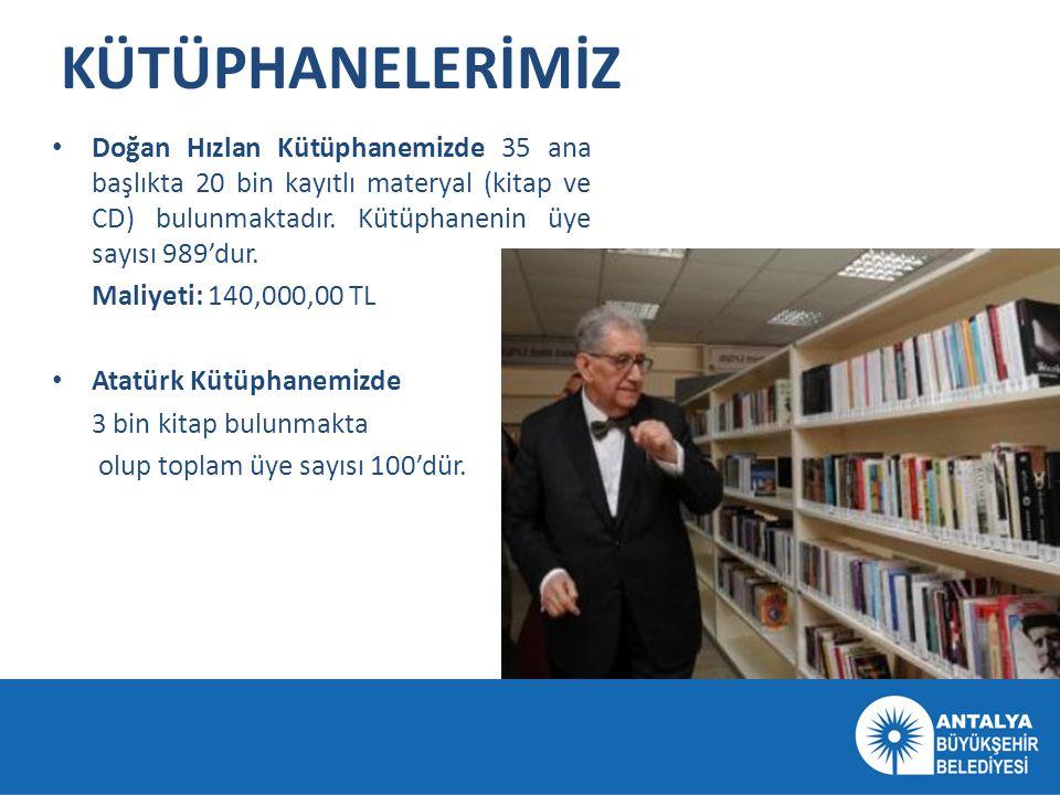 KÜTÜPHANELERİMİZ Doğan Hızlan Kütüphanemizde 35 ana başlıkta 20 bin kayıtlı materyal (kitap ve CD) bulunmaktadır. Kütüphanenin üye sayısı 989'dur.