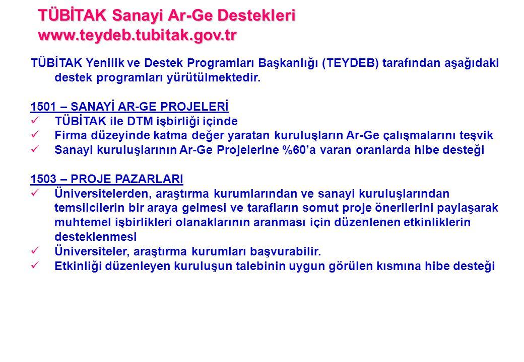 TÜBİTAK Sanayi Ar-Ge Destekleri www.teydeb.tubitak.gov.tr