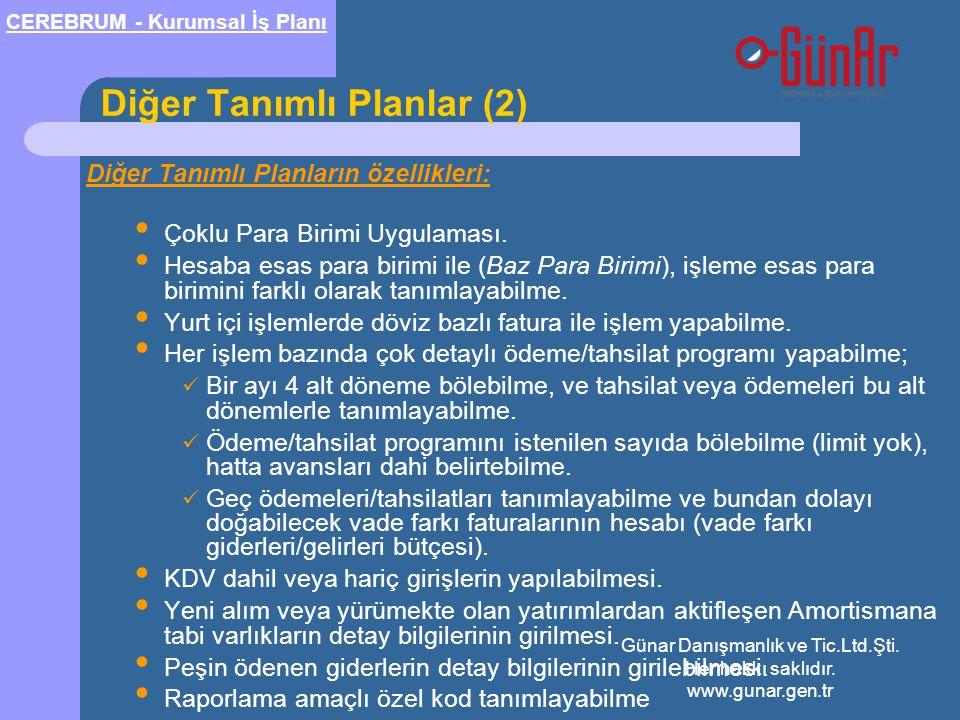 Diğer Tanımlı Planlar (2)