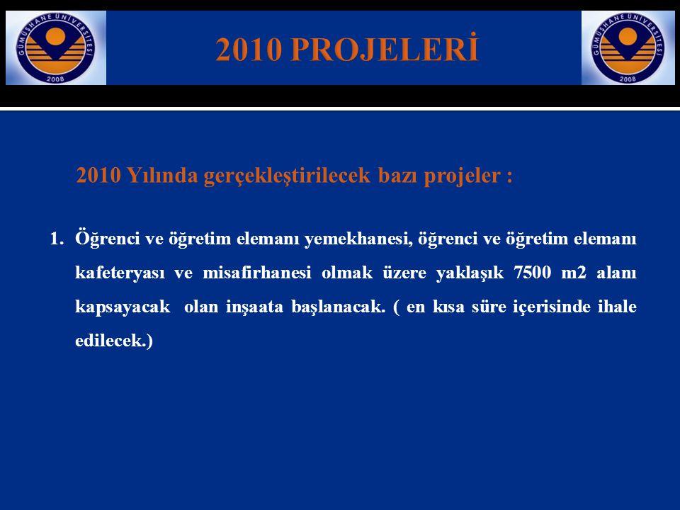 2010 PROJELERİ 2010 Yılında gerçekleştirilecek bazı projeler :