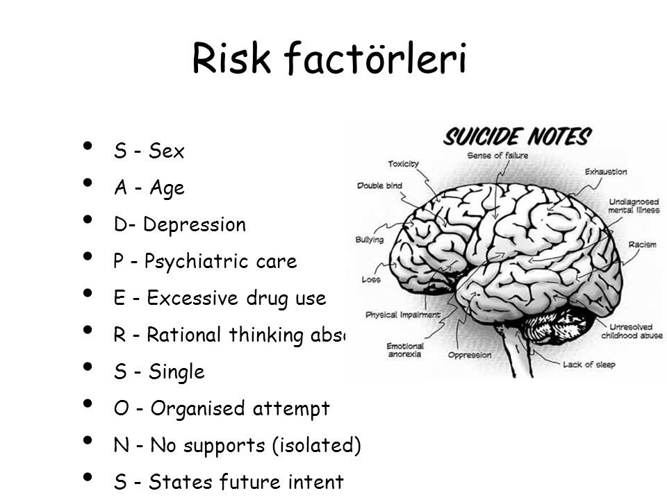 Risk factörleri S - Sex A - Age D- Depression P - Psychiatric care