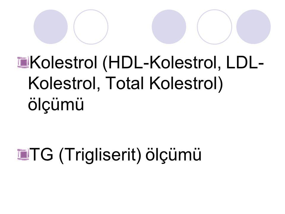 Kolestrol (HDL-Kolestrol, LDL-Kolestrol, Total Kolestrol) ölçümü