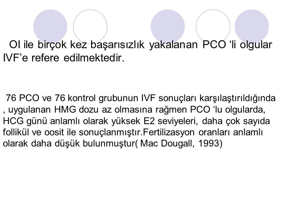 OI ile birçok kez başarısızlık yakalanan PCO 'li olgular IVF'e refere edilmektedir.