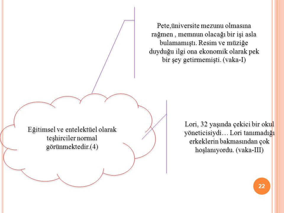 Eğitimsel ve entelektüel olarak teşhirciler normal görünmektedir.(4)