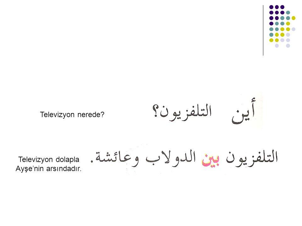 Televizyon dolapla Ayşe'nin arsındadır.