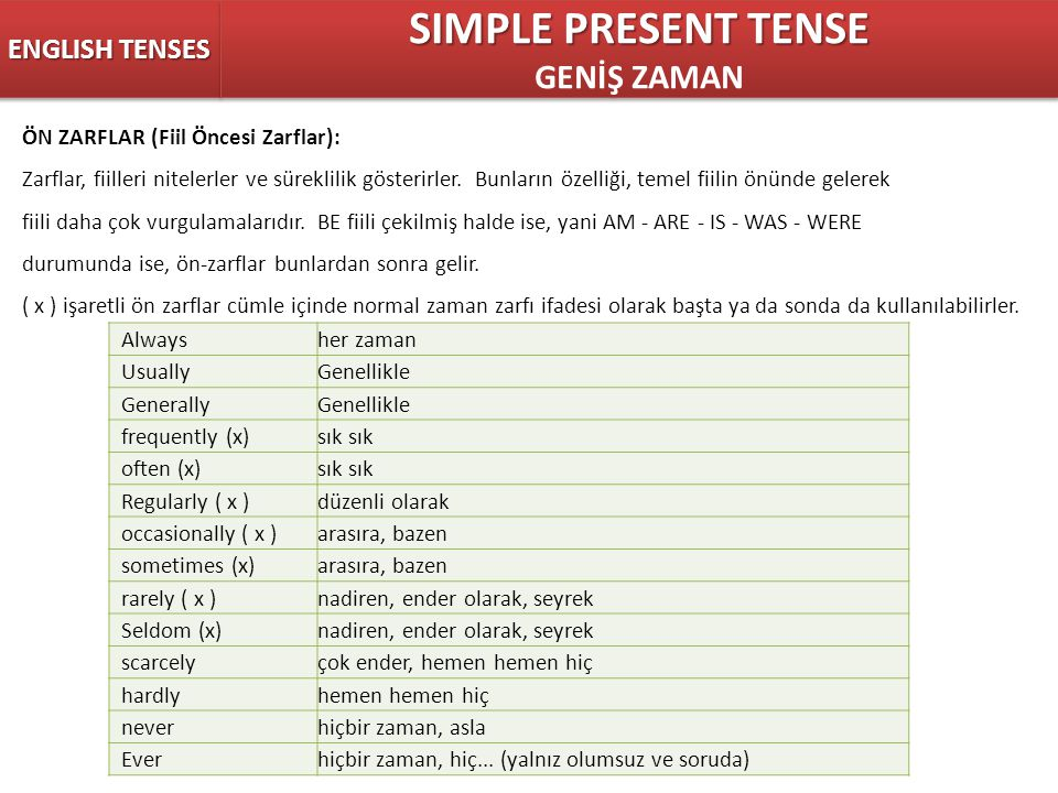 SIMPLE PRESENT TENSE GENİŞ ZAMAN ENGLISH TENSES