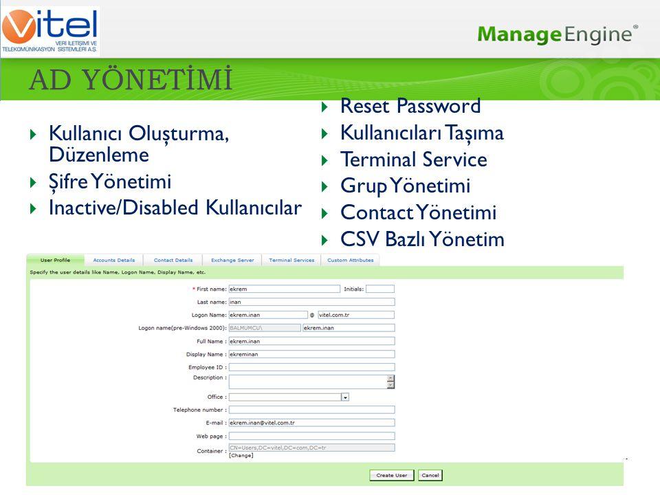 AD YÖNETİMİ Reset Password Kullanıcıları Taşıma Terminal Service