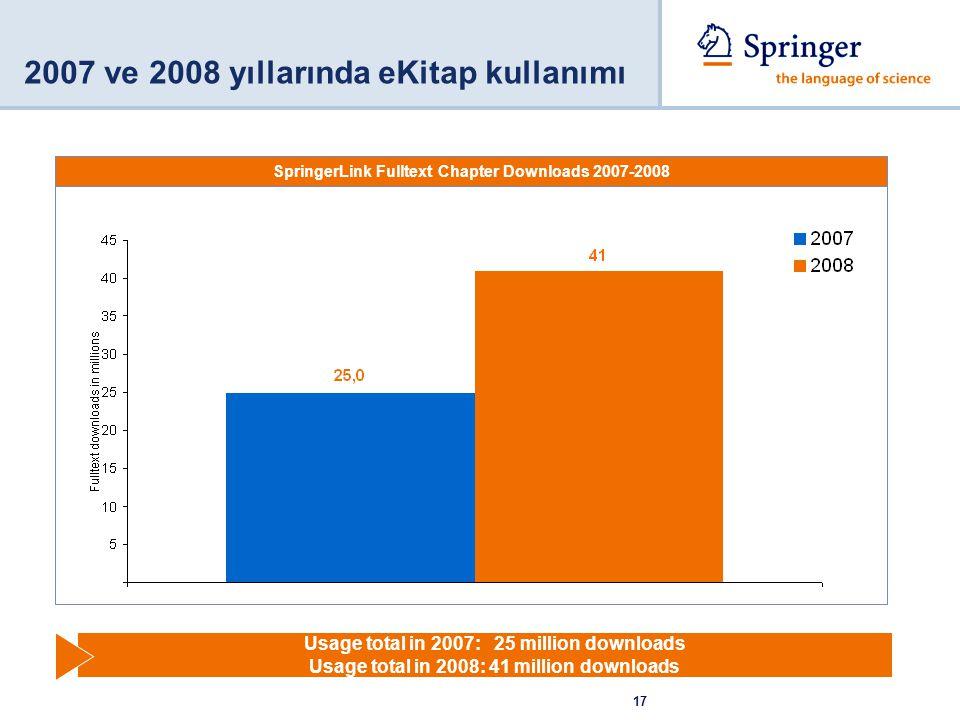 2007 ve 2008 yıllarında eKitap kullanımı