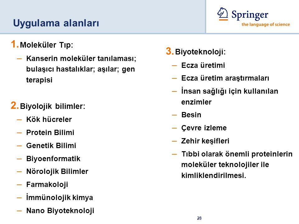 Uygulama alanları Moleküler Tıp: Biyoteknoloji: Biyolojik bilimler: