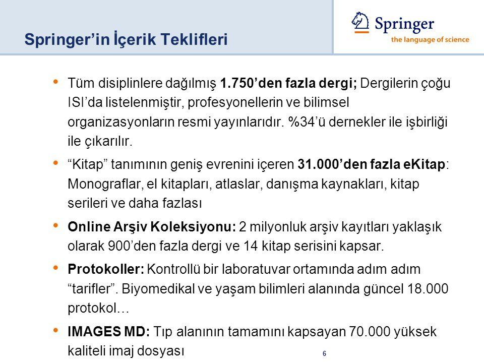 Springer'in İçerik Teklifleri