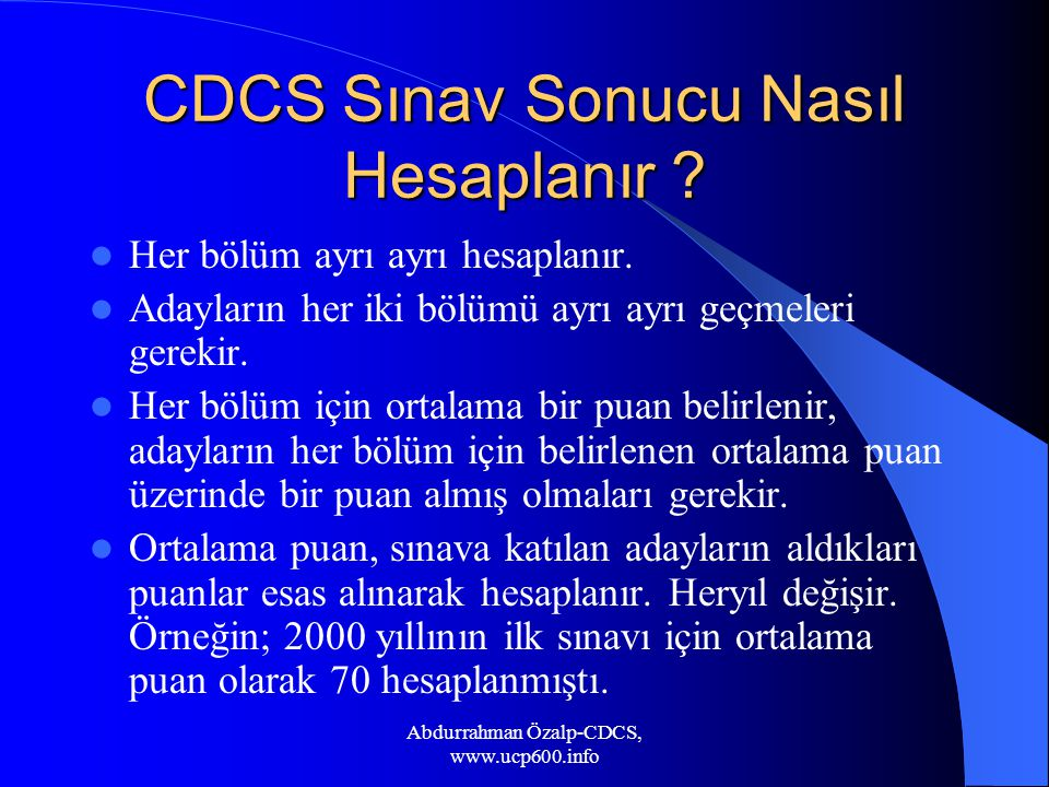 CDCS Sınav Sonucu Nasıl Hesaplanır