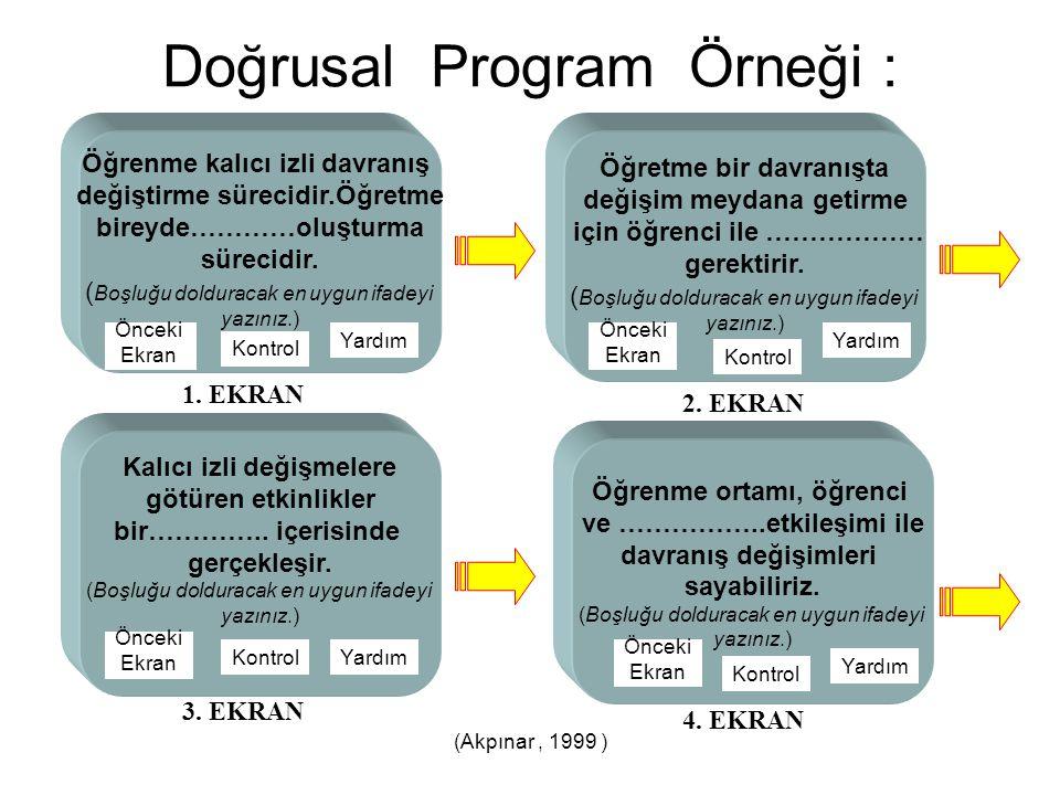Doğrusal Program Örneği :