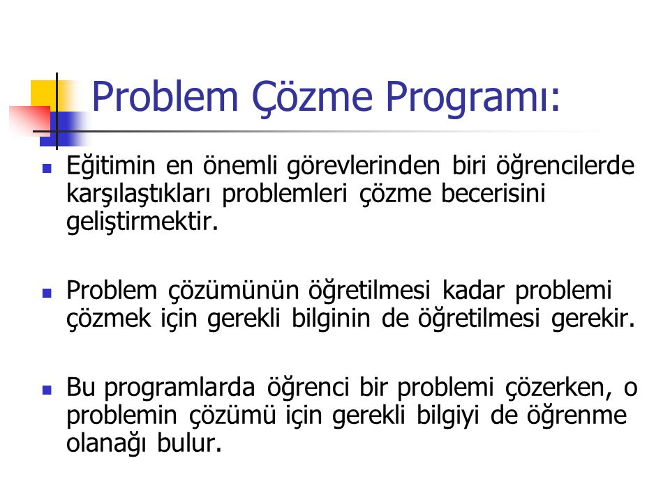 Problem Çözme Programı: