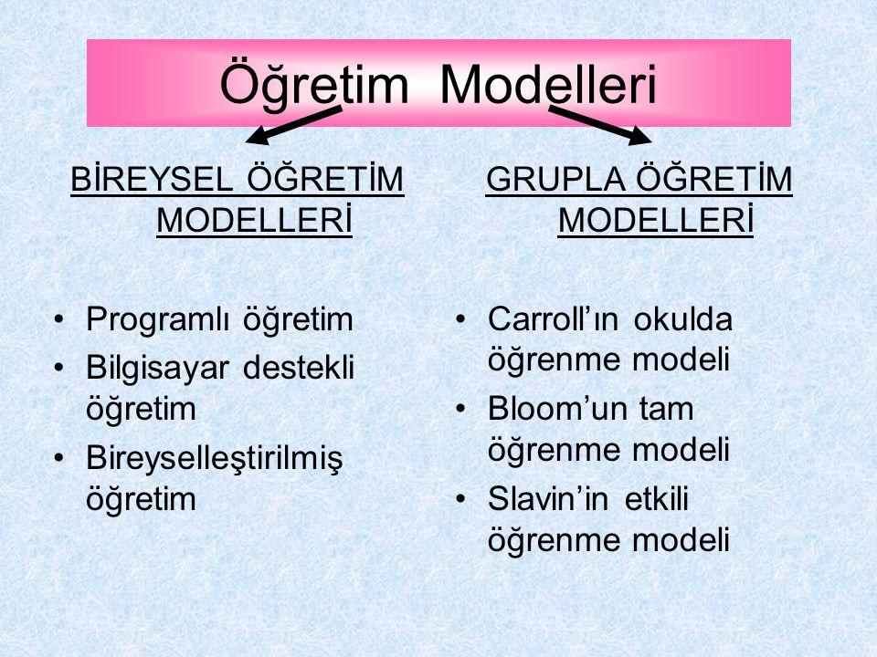 Öğretim Modelleri BİREYSEL ÖĞRETİM MODELLERİ Programlı öğretim
