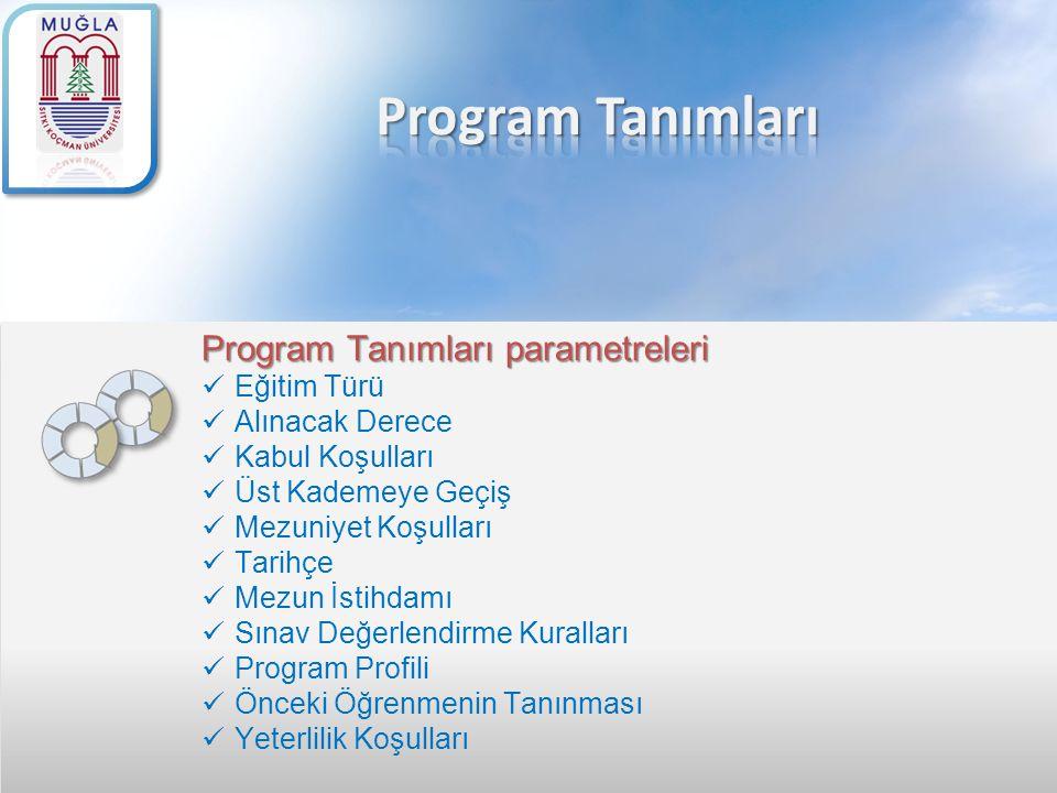 Program Tanımları Program Tanımları parametreleri Eğitim Türü