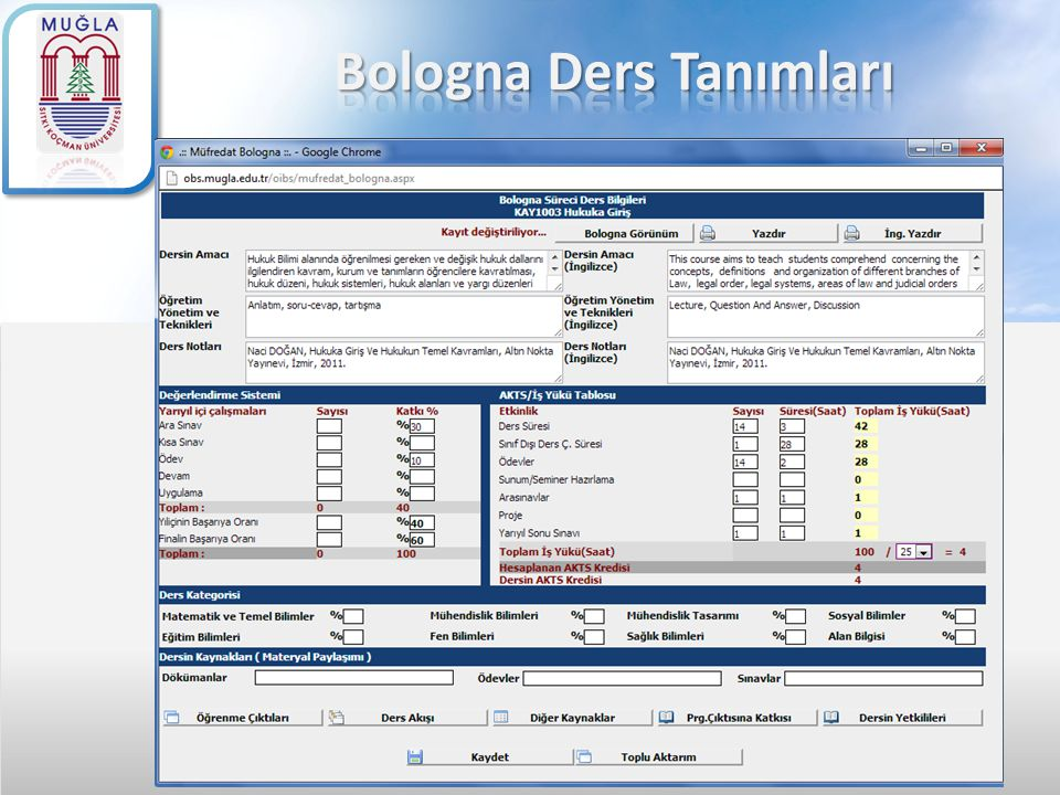 Bologna Ders Tanımları