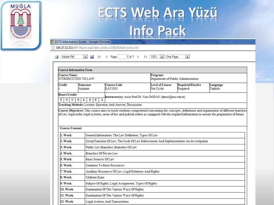 ECTS Web Ara Yüzü Info Pack