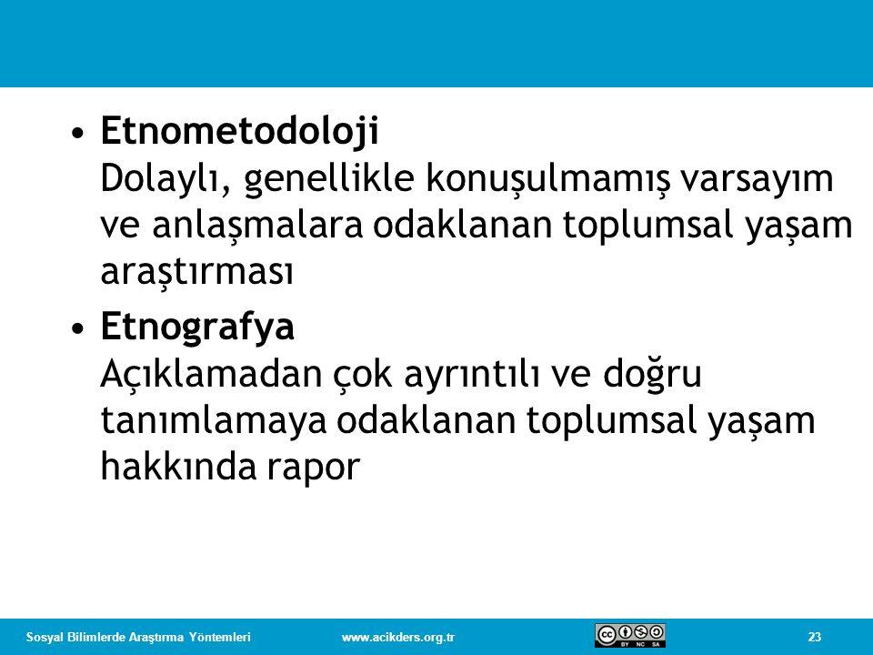 Etnometodoloji Dolaylı, genellikle konuşulmamış varsayım ve anlaşmalara odaklanan toplumsal yaşam araştırması