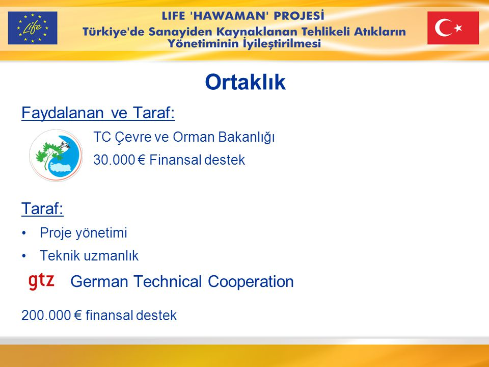 Ortaklık Faydalanan ve Taraf: Taraf: German Technical Cooperation