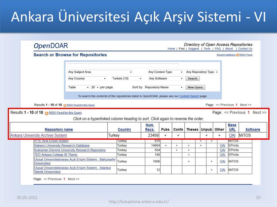 Ankara Üniversitesi Açık Arşiv Sistemi - VI