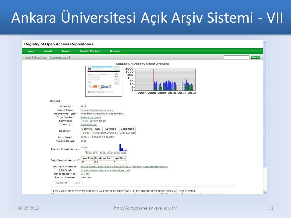 Ankara Üniversitesi Açık Arşiv Sistemi - VII
