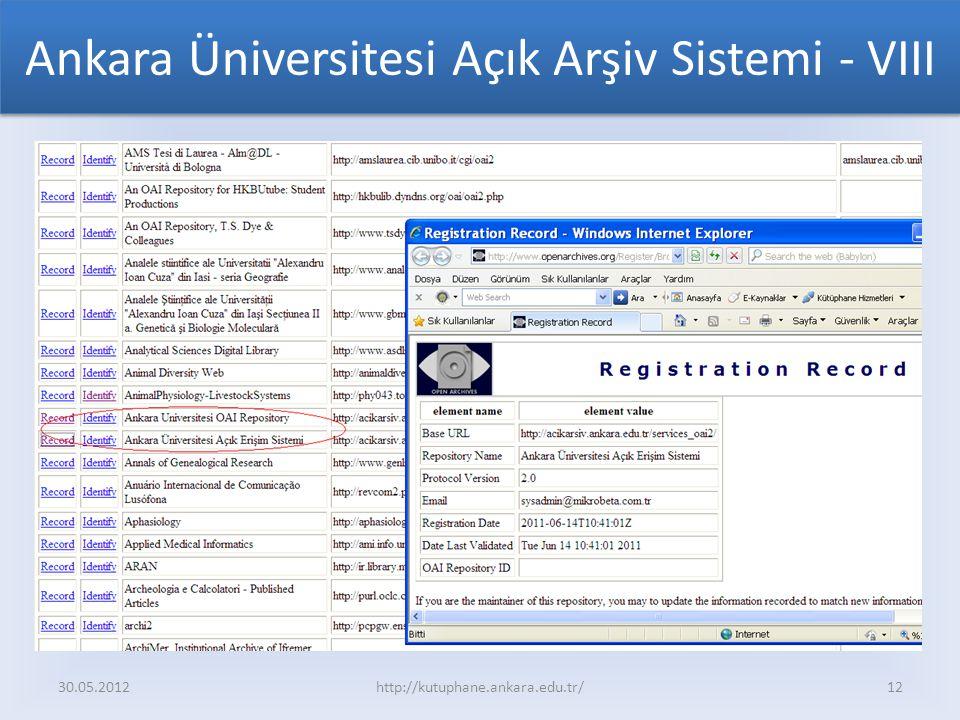 Ankara Üniversitesi Açık Arşiv Sistemi - VIII