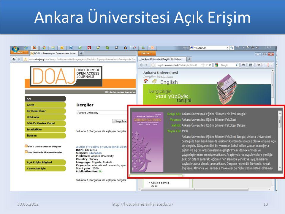 Ankara Üniversitesi Açık Erişim