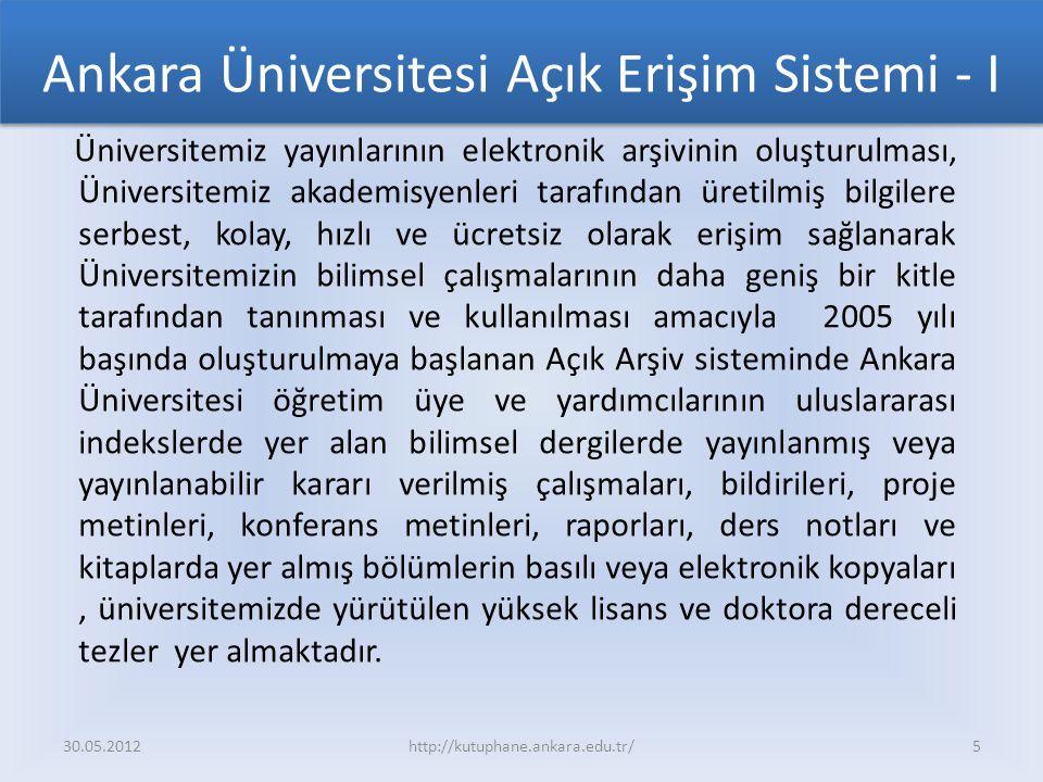 Ankara Üniversitesi Açık Erişim Sistemi - I