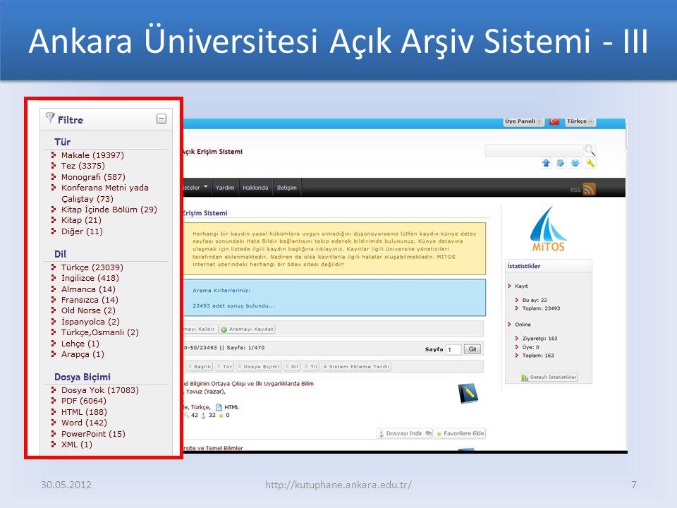Ankara Üniversitesi Açık Arşiv Sistemi - III