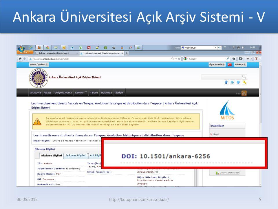 Ankara Üniversitesi Açık Arşiv Sistemi - V