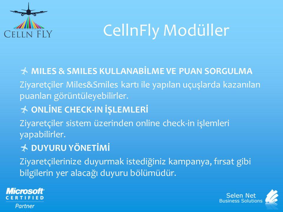 CellnFly Modüller MILES & SMILES KULLANABİLME VE PUAN SORGULMA