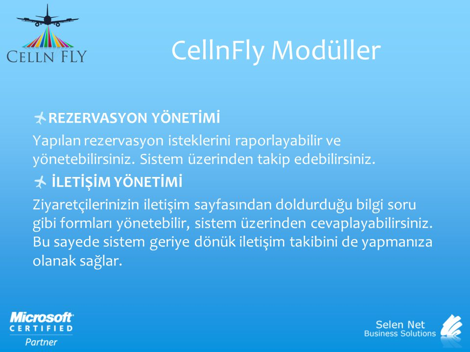 CellnFly Modüller REZERVASYON YÖNETİMİ