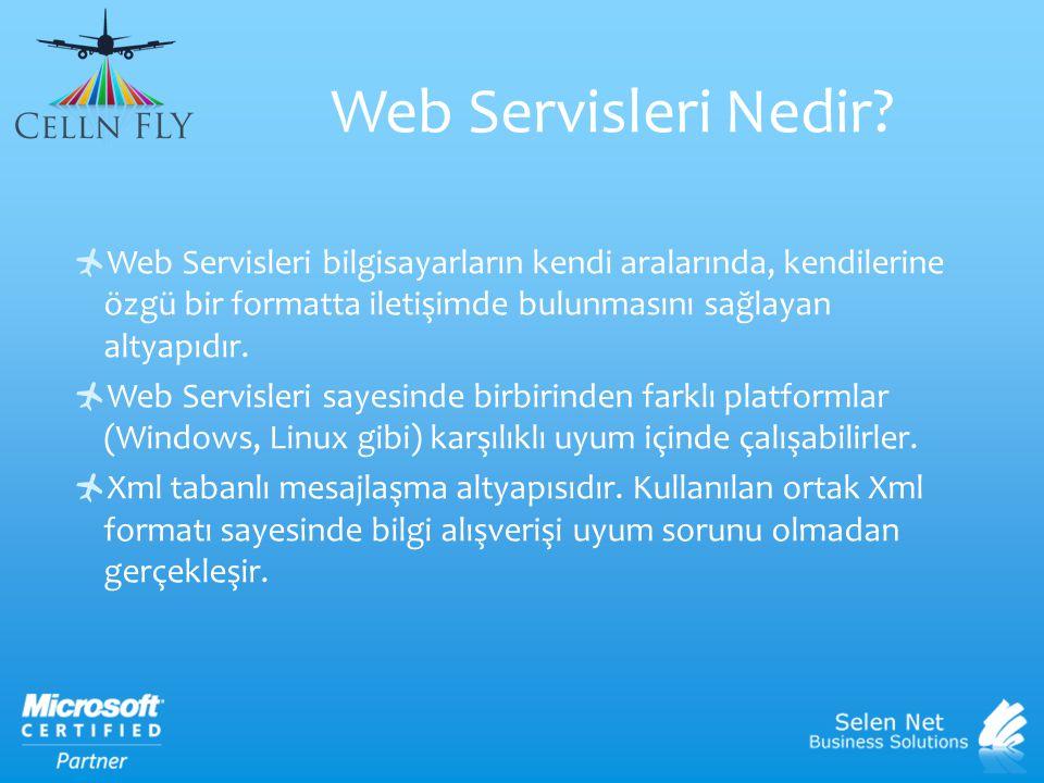 Web Servisleri Nedir Web Servisleri bilgisayarların kendi aralarında, kendilerine özgü bir formatta iletişimde bulunmasını sağlayan altyapıdır.