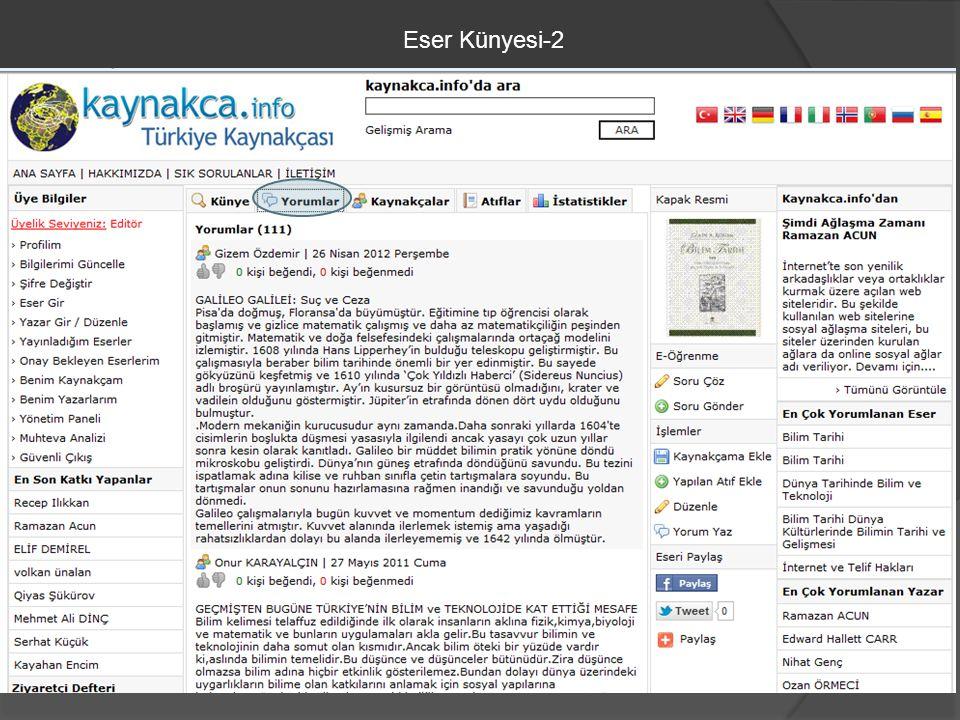Eser Künyesi-2