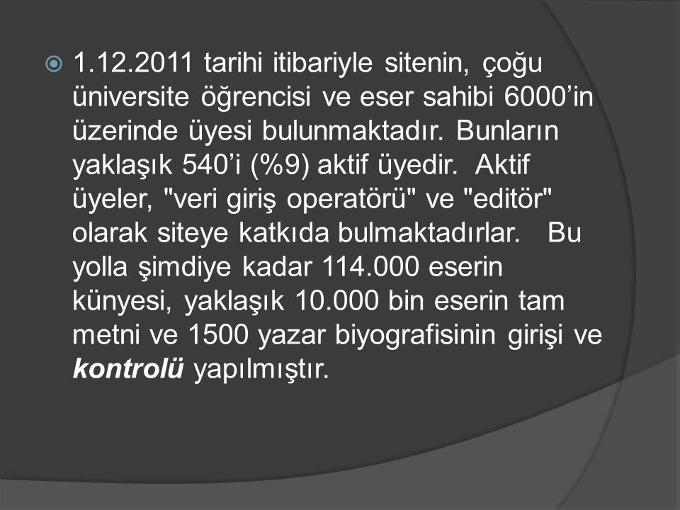 1.12.2011 tarihi itibariyle sitenin, çoğu üniversite öğrencisi ve eser sahibi 6000'in üzerinde üyesi bulunmaktadır.