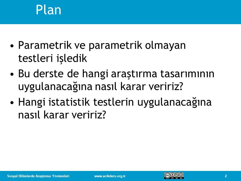 Plan Parametrik ve parametrik olmayan testleri işledik
