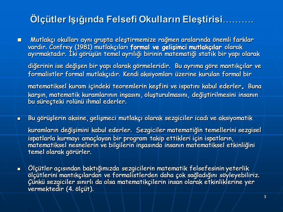 Ölçütler Işığında Felsefi Okulların Eleştirisi……….