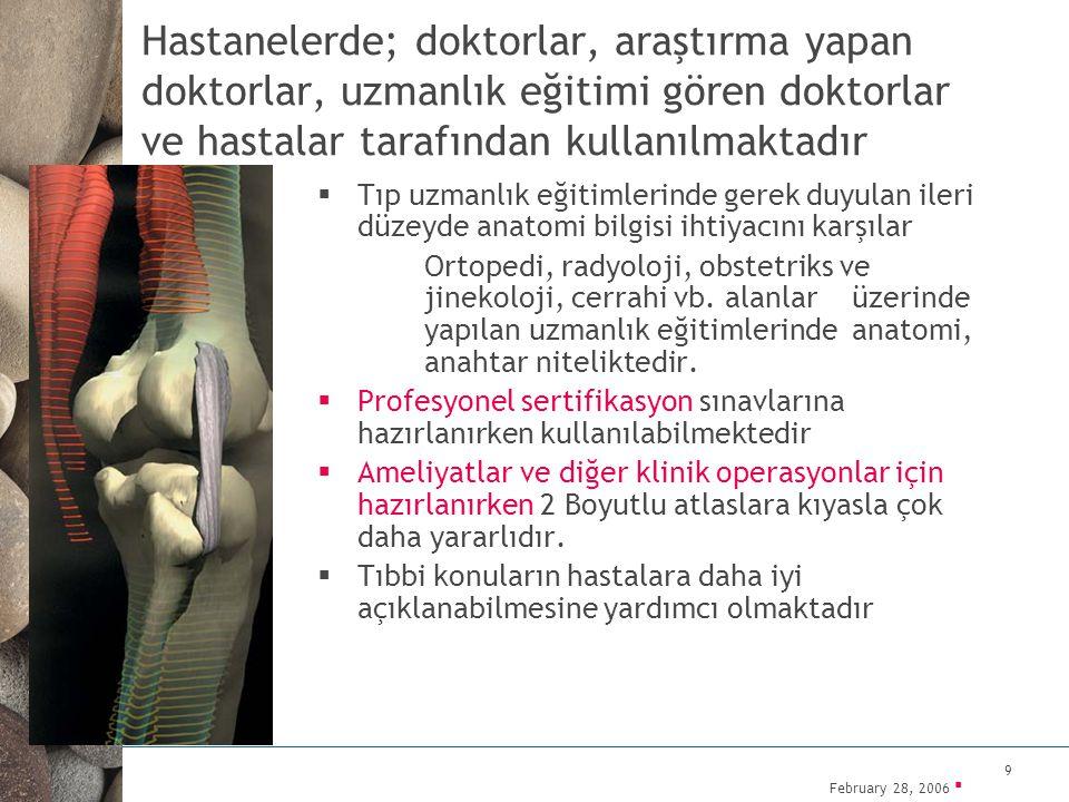 Hastanelerde; doktorlar, araştırma yapan doktorlar, uzmanlık eğitimi gören doktorlar ve hastalar tarafından kullanılmaktadır