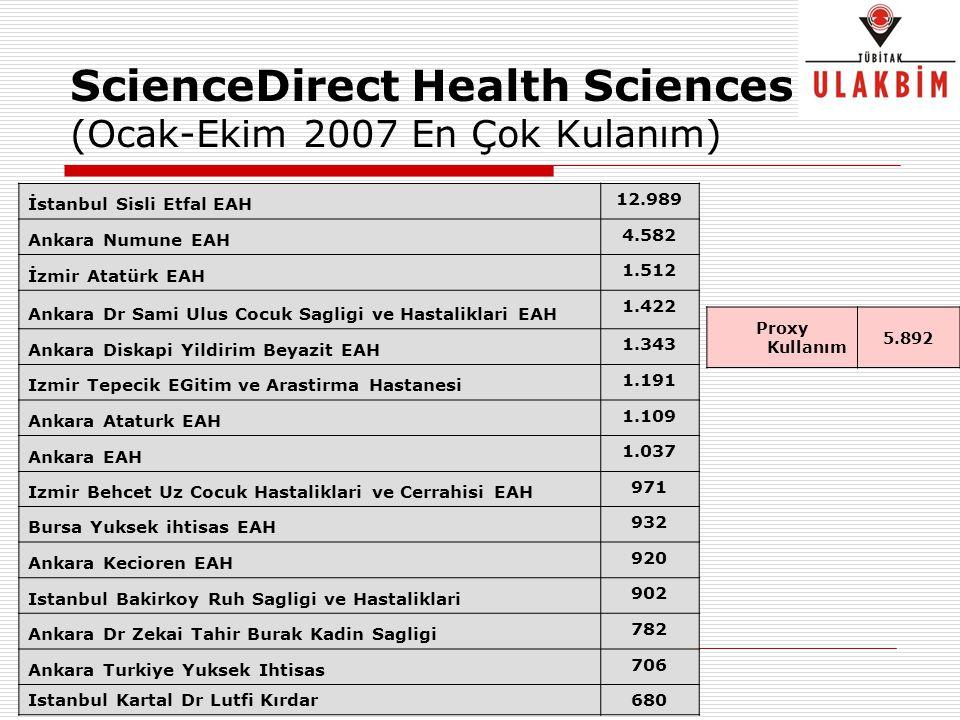 ScienceDirect Health Sciences (Ocak-Ekim 2007 En Çok Kulanım)