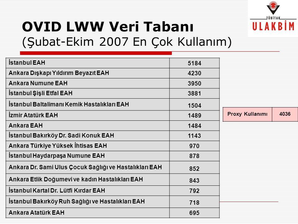 OVID LWW Veri Tabanı (Şubat-Ekim 2007 En Çok Kullanım)