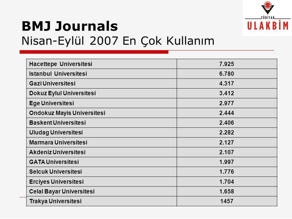 BMJ Journals Nisan-Eylül 2007 En Çok Kullanım