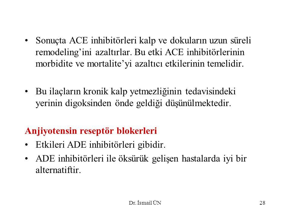 Anjiyotensin reseptör blokerleri Etkileri ADE inhibitörleri gibidir.