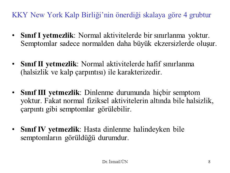 KKY New York Kalp Birliği'nin önerdiği skalaya göre 4 grubtur