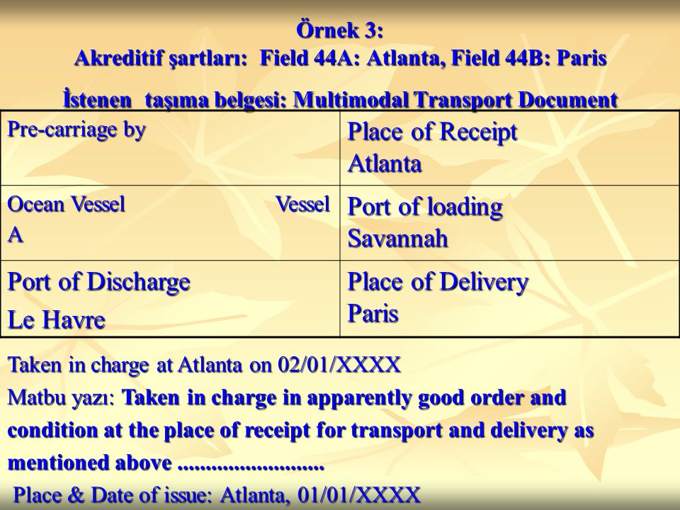 Place of Receipt Atlanta Port of loading Savannah Port of Discharge