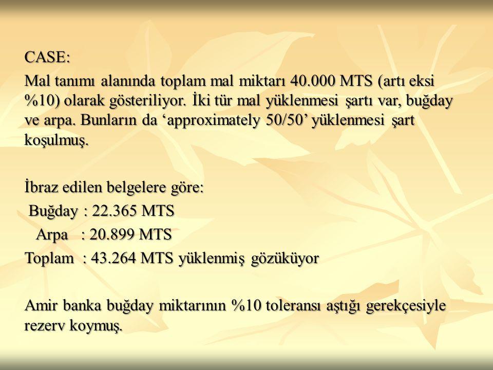 İbraz edilen belgelere göre: Buğday : 22.365 MTS Arpa : 20.899 MTS
